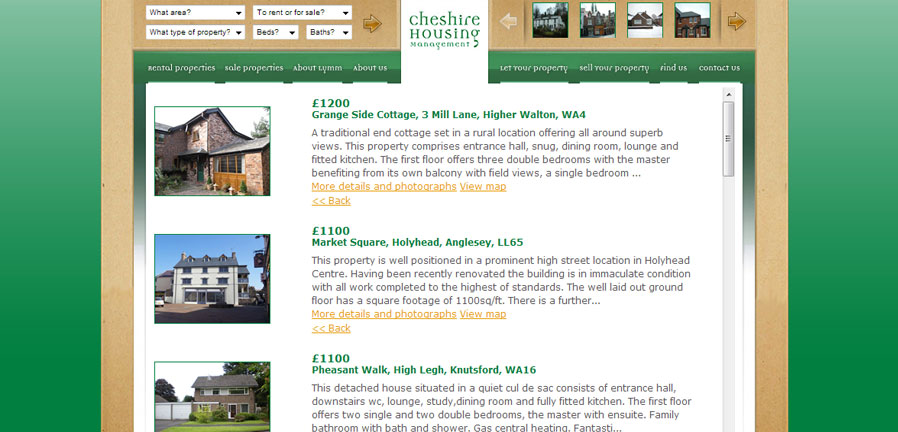 Cheshire Housing rental properties page