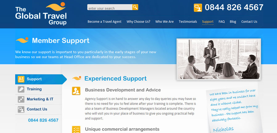 The Support page