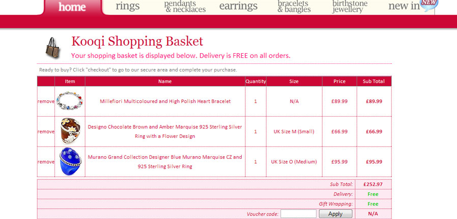 Kooqi Jewellery shopping basket