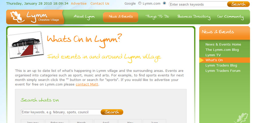Lymm Events listings
